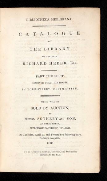 Bibliotheca Heberiana. Auction Catalogue (primero de los 16 volúmenes, 1834-1837)